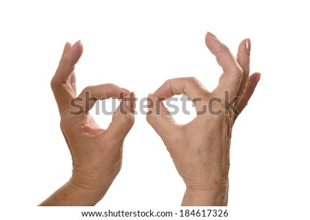 Ok Hand signs isolated on white background