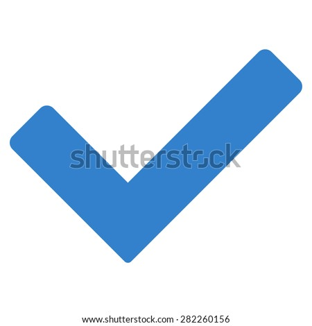Ok icon from Basic Plain Icon Set. Style: flat vector image, cobalt color, rounded angles, white background. - stock photo