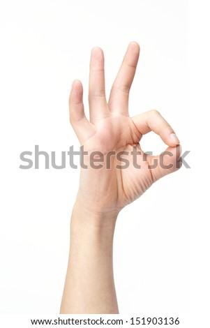 OK sign isolated on white background.  - stock photo