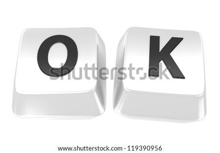 OK written in black on white computer keys. 3d illustration. Isolated background. - stock photo