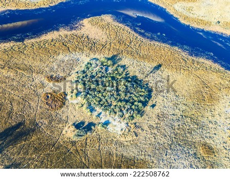 Okavango delta (or Okavango Grassland) is one of the Seven Natural Wonders of Africa (view from the airplane) - Botswana, South-Western Africa - stock photo
