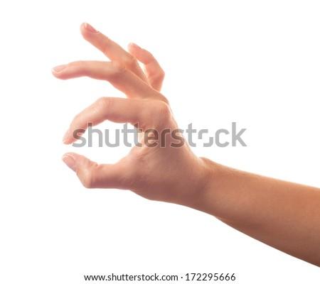 Okay hand on white background - stock photo
