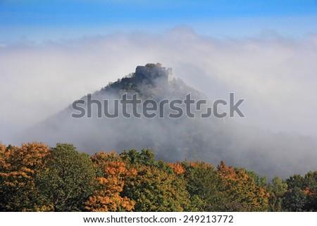 Okic castle ruin in the fog, located near the city of Samobor, Croatia. - stock photo