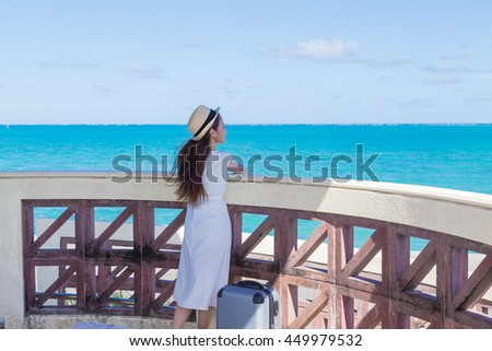 Okinawa sea and young women
