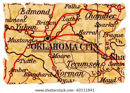 Oklahoma City, Oklahoma on an old torn map from 1949, isolated. Part of the old map series. - stock photo
