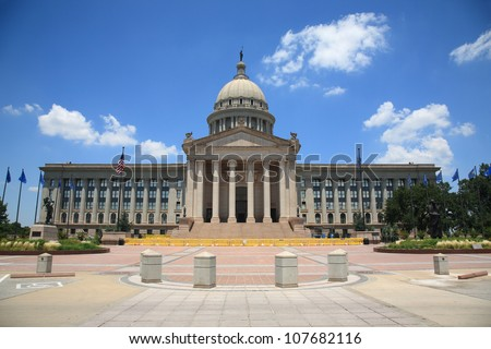 Oklahoma State Capitol Building - The state capitol building in Oklahoma City, with dome, stairs and columns. - stock photo