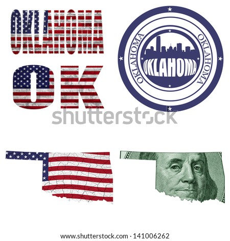 Oklahoma state collage (map, stamp,word,abbreviation) in different styles in different textures - stock photo