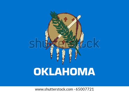 Oklahoma state flag of America, isolated on white background. - stock photo