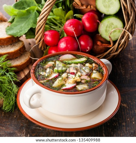 Okroshka - Russian kvass Cold Soup with Vegetables