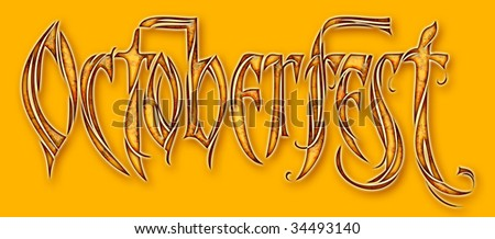 Oktoberfest banner with clipping path - stock photo