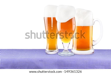 Oktoberfest Celebration Background with frosty fresh Beer isolated