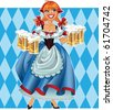 Oktoberfest girl on background  raster - stock photo