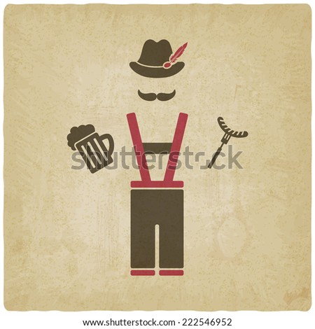 Oktoberfest man with beer mug and sausage -  illustration