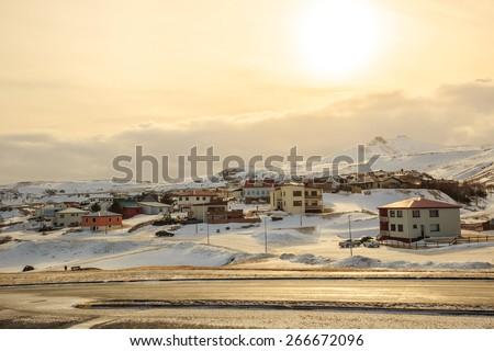 Olafsvik city in Iceland with beatiful sun light - stock photo