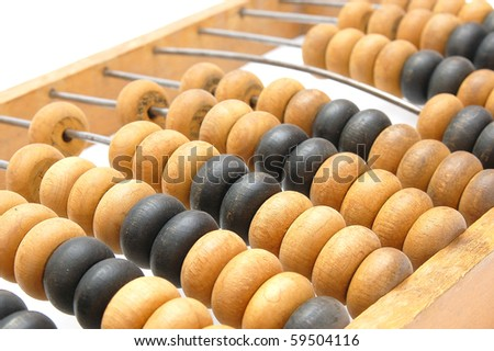 Old abacus closeup - stock photo