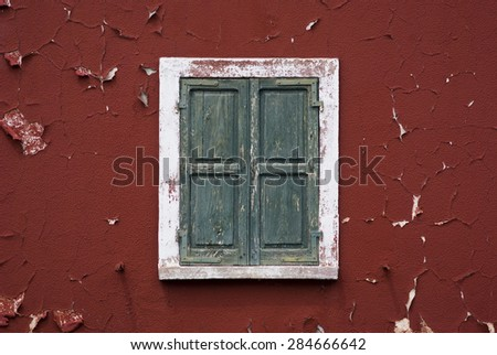 Old abandoned building facade - stock photo