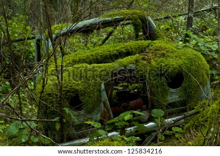 Old abandoned car covered in moss - stock photo