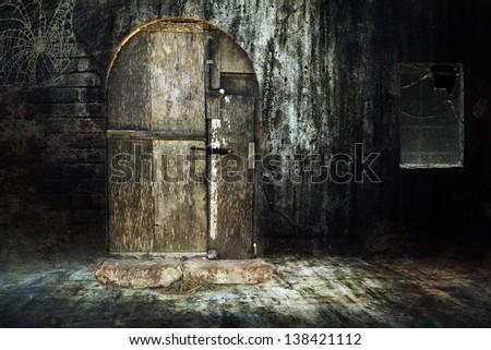 Old abandoned creepy house - stock photo