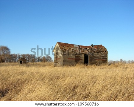 old abandoned farm building