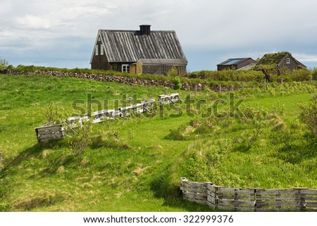 Old abandoned farm in Iceland in summer.