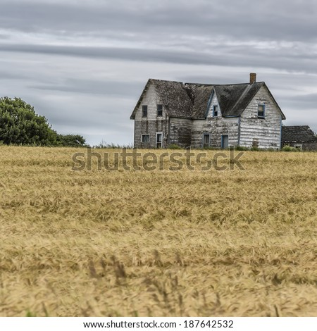 Old abandoned farmhouse collapsing into the earth. - stock photo