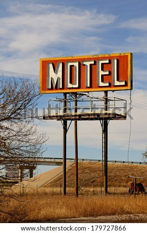 Old abandoned hotel or motel along Route 66 in northern Texas - stock photo