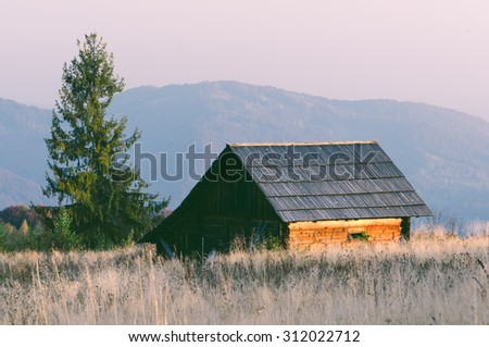 Old abandoned house made of wood. Mountain Village. Autumn Landscape. Color toning, low contrast - stock photo