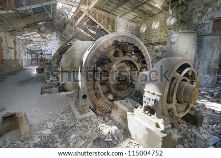 Old Abandoned Hydro Electric Powerhouse Plant Station in White River Falls Oregon - stock photo