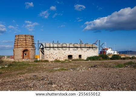 Old abandoned large furnace ruins near Lavrio area in Greece - stock photo