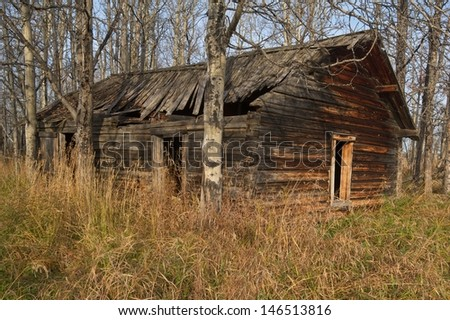 Old abandoned log cabin in the forest in fall - stock photo