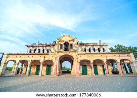 Old abandoned market in the historic colonial center of Mompox, Colombia - stock photo