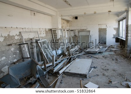 Old abandoned office in a state of destruction - stock photo