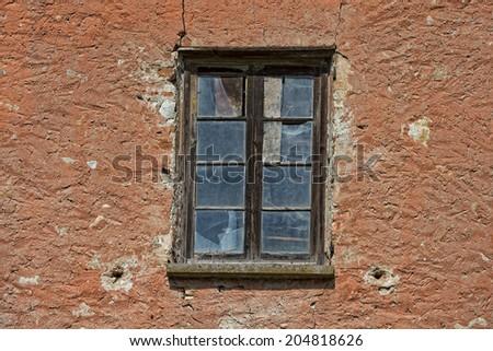 old abandoned red bricks hayloft  - stock photo