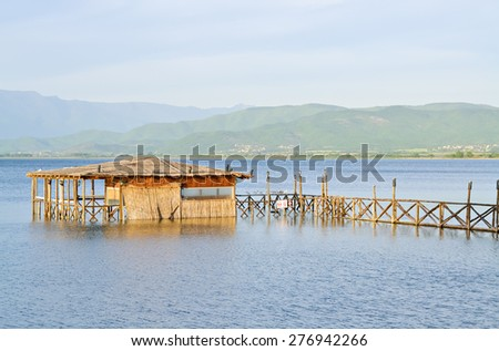 Old abandoned reed hut on the shore of the lake - stock photo