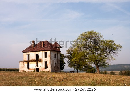 Old, abandoned, ruined house in the field with trees and herbs - stock photo