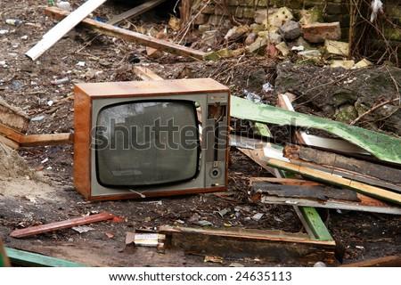 old abandoned television - stock photo