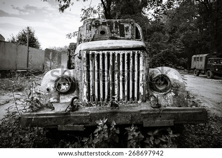 Old abandoned truck - stock photo
