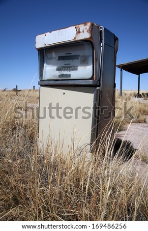 Old abandoned vintage USA gas station - stock photo