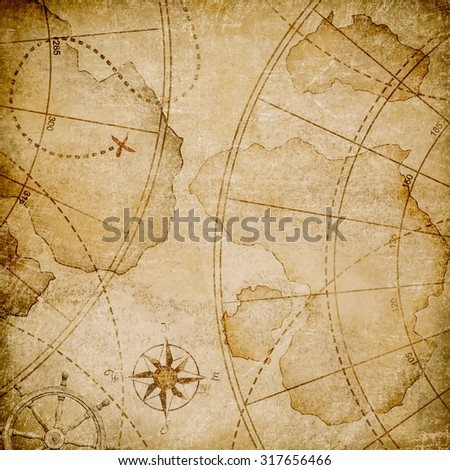 old abstract pirates map  - stock photo