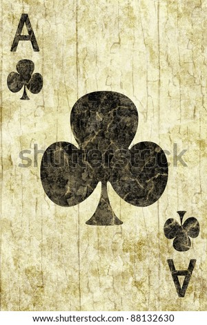 Old ace of clubs playing card - stock photo