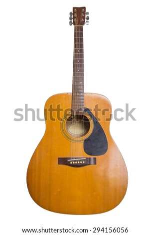 Old acoustic guitar isolated on white background. - stock photo