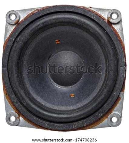 Old acoustic speaker, isolated on a white background - stock photo