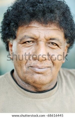 Old African American black face of a man - stock photo