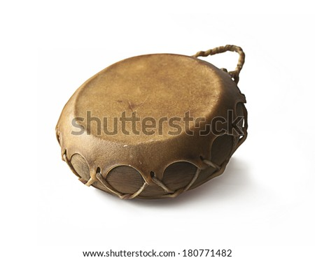 Old african hand Drum isolated on a white background - stock photo