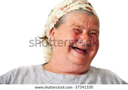 Old aged female person, very delightful and funny face - stock photo
