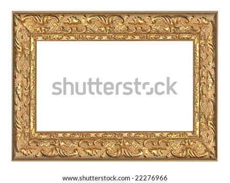 old aged golden frame with golden ornament