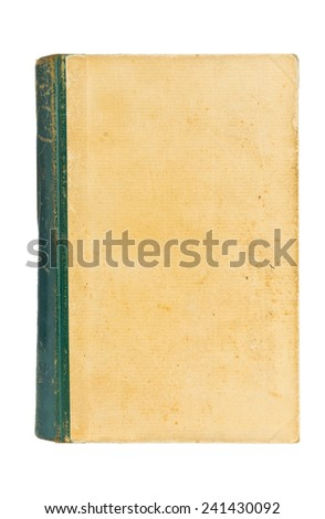 Old aged hardcover book isolated on white background - stock photo