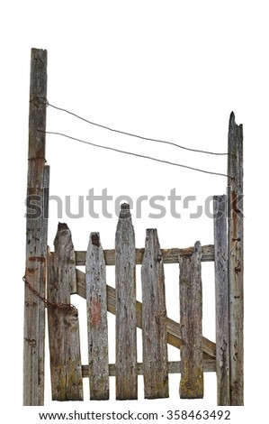 Old Aged Weathered Rural Ruined Grey Wooden Gate, Isolated Gray Wood Garden Fence Entrance Gateway, Large Detailed Vertical Closeup - stock photo