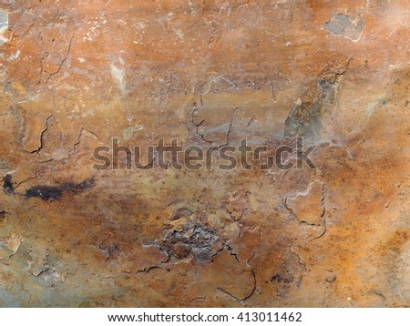 Old aged weathered rusty abandoned smooth rustic steel plate iron sheet surface.  - stock photo