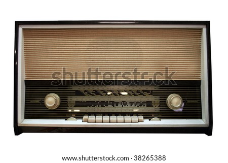 old aged wooden radio in retro look